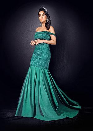 Bottle green gown