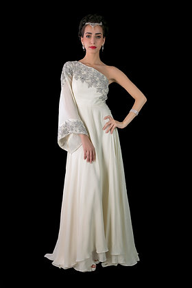 Raw crepe, dipped-hem, hand-embellished gown