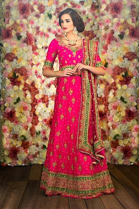 Pink raw silk bridal lehenga, top, dupatta