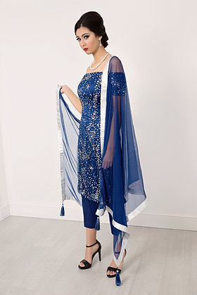 Sparkly blue offshoulder suit with dupatta