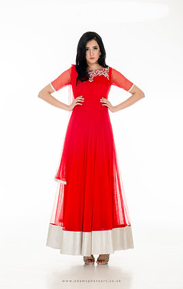 Red hand embroidered floor-length anarkali