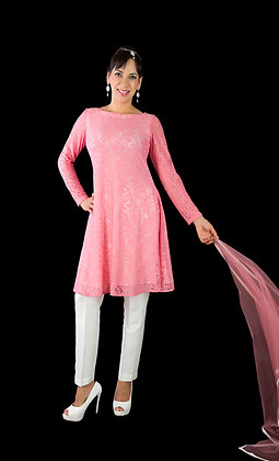 Pink lace tunic dress and trousers