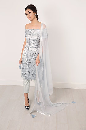 Sparkly grey offshoulder suit with dupatta