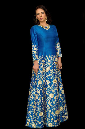 Royal blue and gold raw silk gown