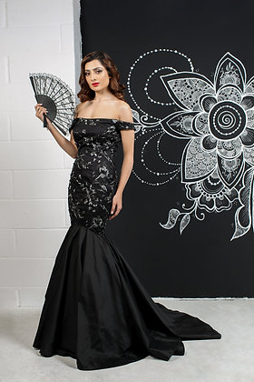 Black lace pageant gown