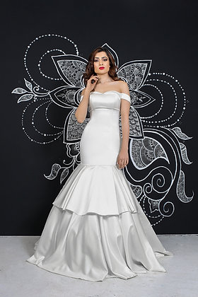 Ivory satin multi tier gown