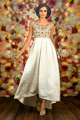 Jacquard dipped hem gown with antique embroidery
