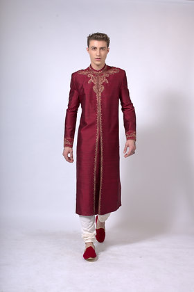 Men's red raw silk sherwani