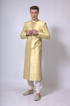 Mens gold raw silk sherwani