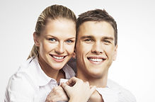 smiling man and woman on white backgroun