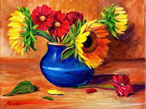 Sunflowers in BlueVase