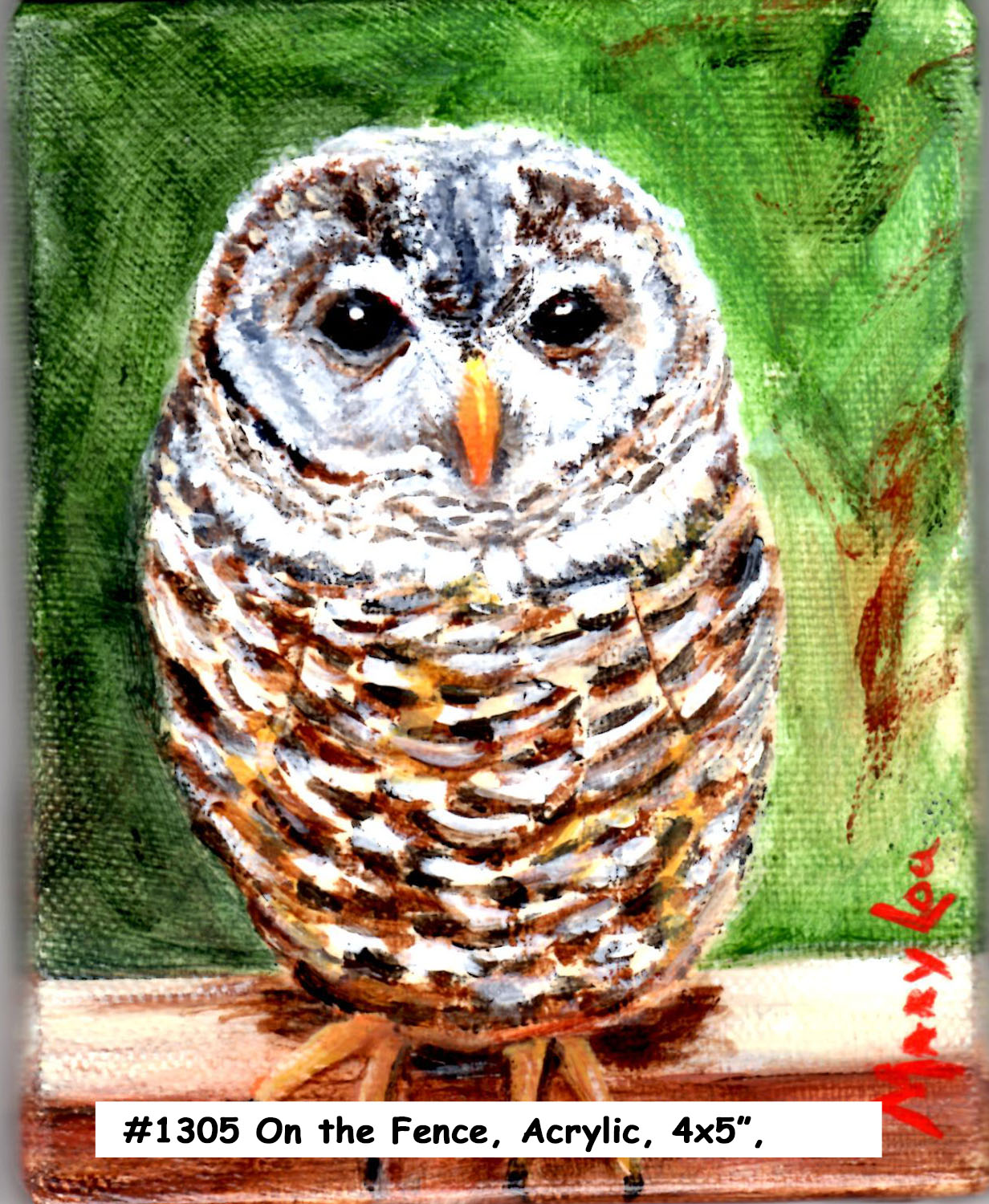 18-05-Owl-On-Fence-4x5Acrylic
