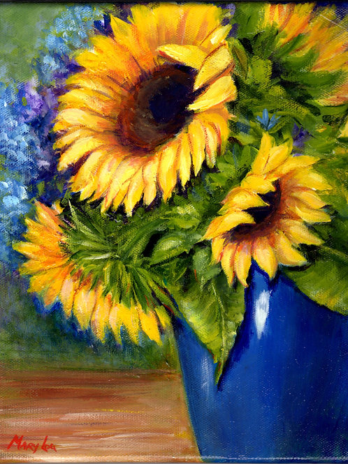 SunflowersIn Blue Vase
