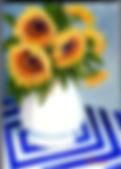 616-25SunflowersonBlue-Wht-5x7Acrylic.jp