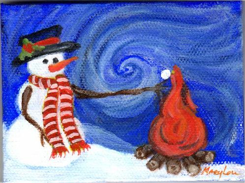 Van Goghish Snowman-Toasting Marshmallo
