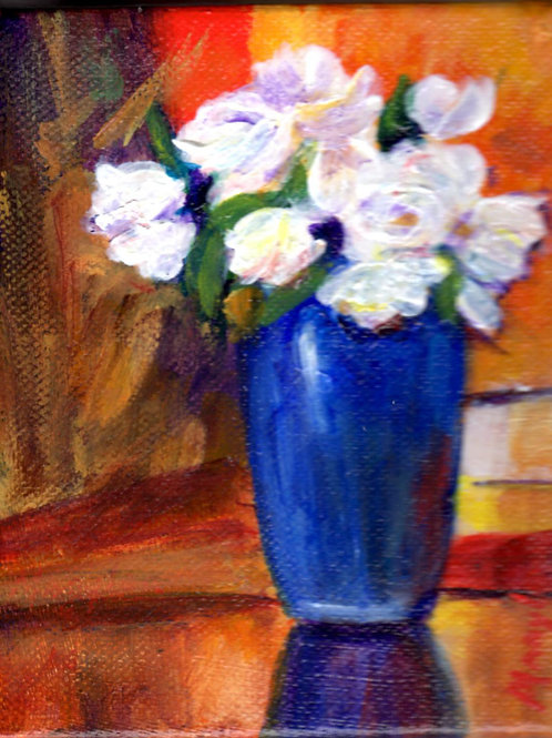 Blue Vase w/White Flowers
