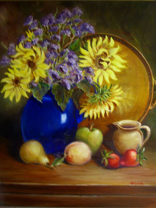 Sunflowers in Blue Pitcher