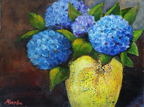 Hydrangeas in Yellow Vase