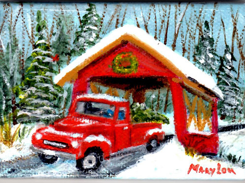 Red Truck In Covered Bridge