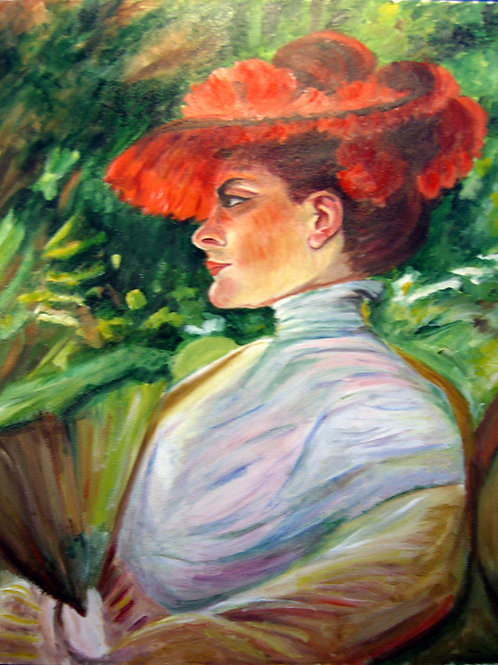 Lady in Red Hat(after Duveneck)