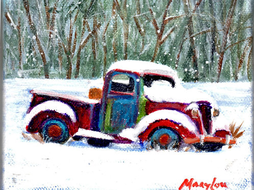 Old Snow-covered Truck