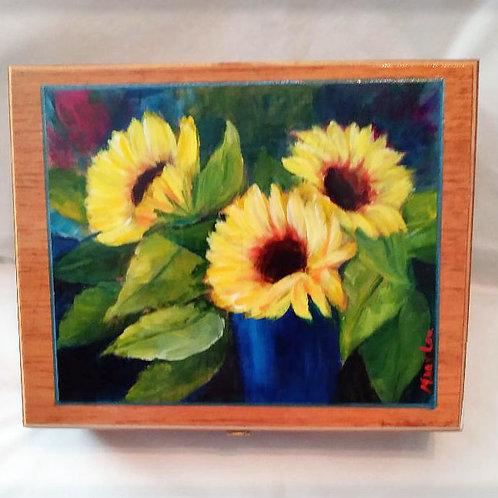 Sunflower Trio in Blue Vase