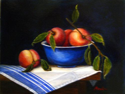 Blue Bowl of Peaches