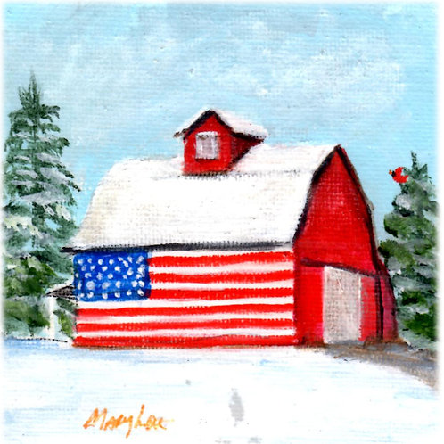 Flag Barn on Snowy Hill