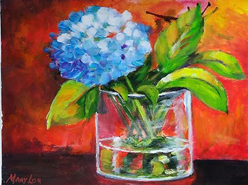 Hydrangeas in Glass Vase