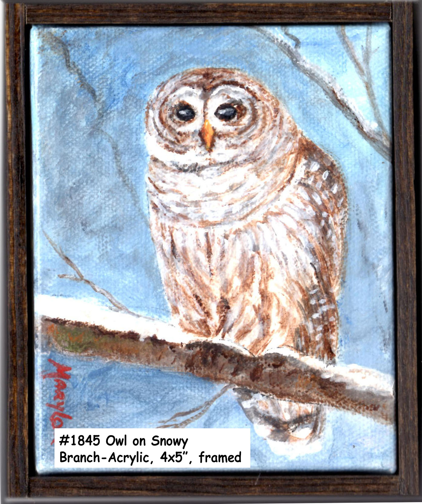18-45Owl-on-a-Snowy BranchAcrylic-4x5in