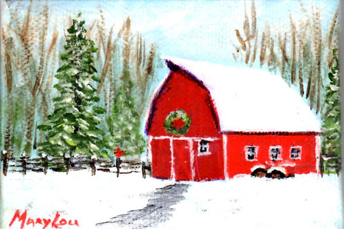 Red Barn with Wreath and Snow covered Tractor