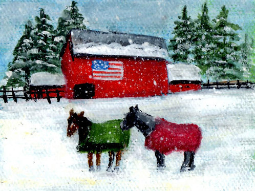 Flag Barn with 2 Horses