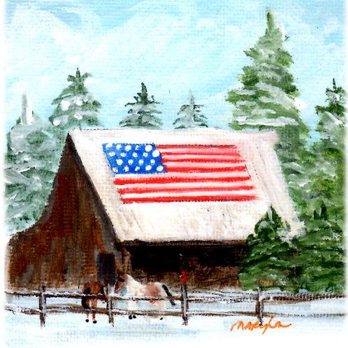 Flag Barn w/2Horses