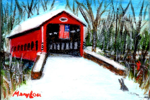 Covered Bridge with Flag