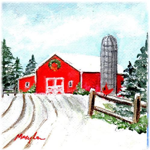 Wreath On a Red Barn