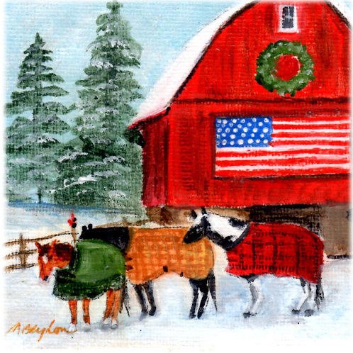 Flag Barn w/3 Horses