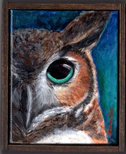 2018-42-Owl-W-GreenEye-Acrylic-4x5infram