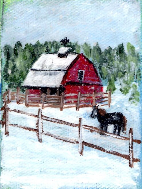 Red Barn and Horsein Snow