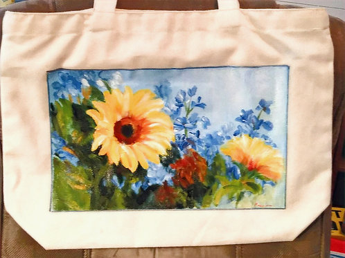 Sunflowers and Delphinium on Canvas