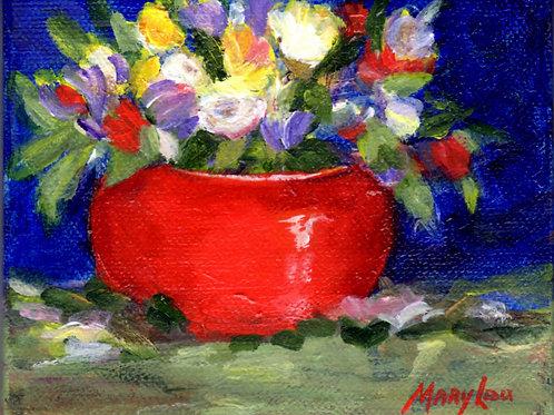 Red Bowl full of Flowers