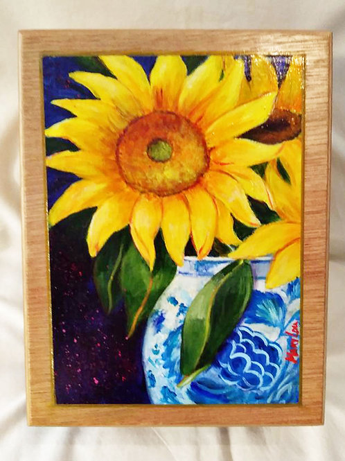 Sunflowers inBlue-n-White Vase