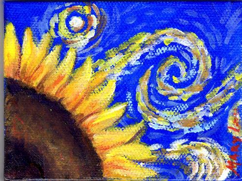 Van Goghish Sunflower in Windy Sky
