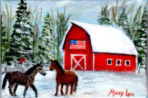 Flag-Barn-Horses