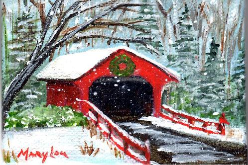 Covered Bridge w/Wreath