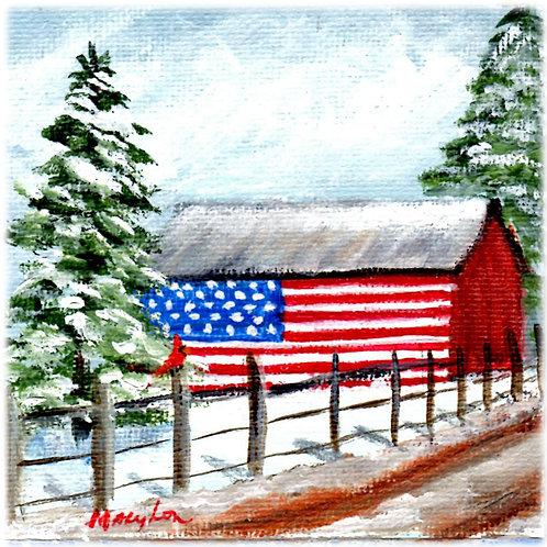 Flag Barn in the Snow