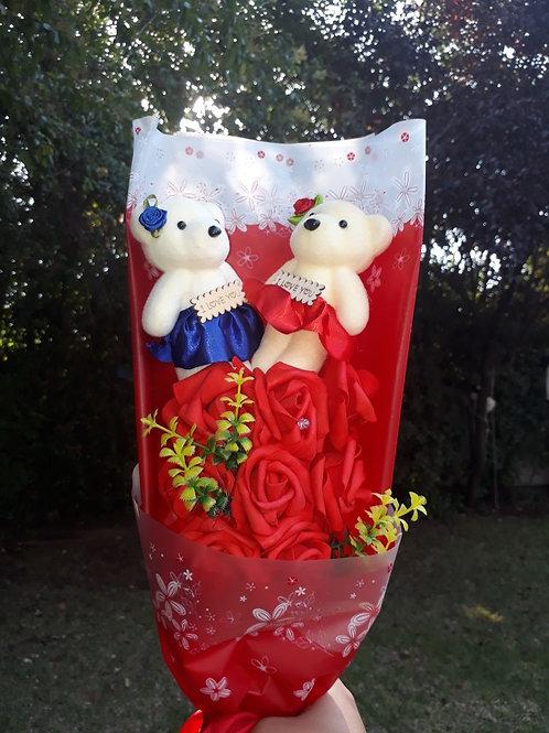 Peluches Enamorados luces Led, flores y envío gratis