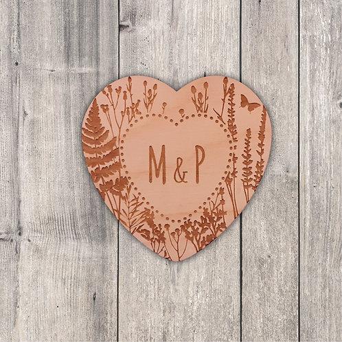 Wild Flower Heart Fridge Magnet