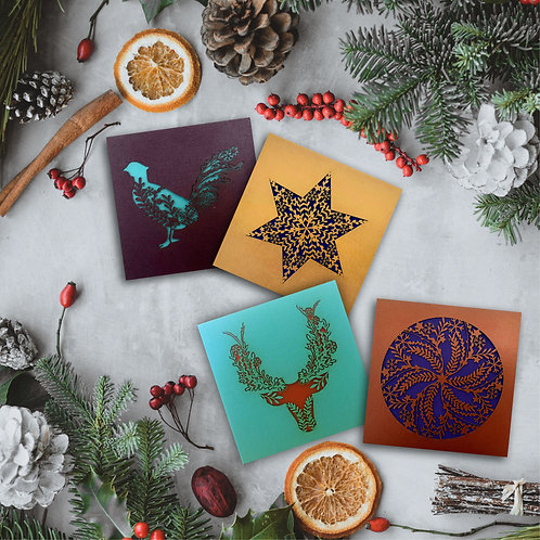 Set of 4 Botanical Christmas