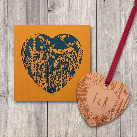 wild flower heart gift set teal personal