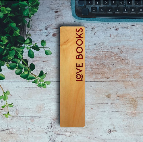 Love Books Wooden Bookmark